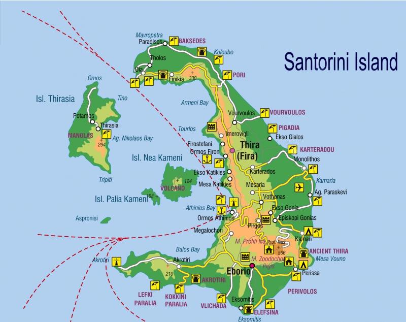 Пляжи острова Санторини на карте